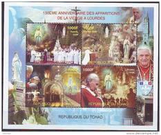 TCHAD CHAD  150° DES APPARITIONS DE LA VIERGE A LOURDES -  POPE JP. II -150th.ANN.LOURDES - FLET 4 V  NEUF ** - Christendom