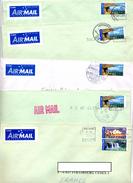 Lot 8 Lettre Cachet Flamme Sur Paysage Design Fleur - Postmark Collection