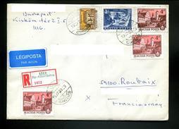 Marcophilie,lettre Recommandée 1987 De Hongrie Pour La France,obl Albertfalva,etiquette Légiposta Par Avion - Postmark Collection