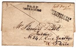 COLONIES PAR / CHERBOURG + P 48 P / CHERBOURG S / L Complète Sans Texte + Manuscrit Port  Payé - Marcophilie (Lettres)