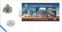 SAINT-MARIN - ENVELOPPE 1er JOUR - FDC - NAVETTE SPATIALE Avec DRAPEAU  - 1998 - FDC