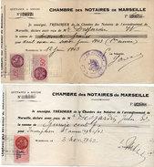 """2 Documents """"Chambre De Commerce De Marseille"""" Qittances - Timbres Fiscaux (94741) - France"""