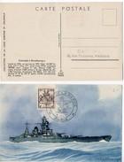 Carte Souvenir 'Salon De La Marine' 1945 - Cuirassé Strasbourg Avec Blason Strasbourg - Marcofilia (sobres)