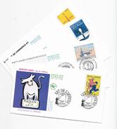 Enveloppes  1er Jour FDC .2003 4 Enveloppes  Europa- Porte-avion- Chatre Des Droits- Chambre De Commerce - FDC