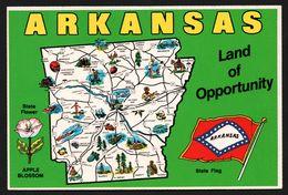 Carte Géographique Du Arkansas - Land Of Opportunity -  Fleurs - State Flower - Apple Blossom - ROYAL - MIKE ROBERTS - Etats-Unis