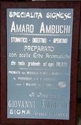 """VENDO CARTELLO PUBBLICITARIO ORIGINALE IN CARTONE """"SPECIALITA' SIGNESE AMARO AMBUCHI"""" DI SIGNA (FI) - Targhe Di Cartone"""
