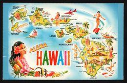 Carte Géographique D'Hawai - Honolulu - Hibiscus - Aloha - Kauai - Lanai - Niihau - Molokai - Kahoolawe - ISLAND HERITAG - Etats-Unis