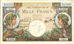 FRANCE 1000 FRANCS Commerce Et Industrie Du 19-12-1940  Pick 96a  F 39/3  AU/SPL - 1 000 F 1940-1944 ''Commerce Et Industrie''