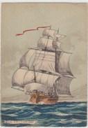"""Bateau , Voilier , Illustrateur ,  """""""" LE TRITON   XVIIIè  """"""""""""  (Ed. Barre-Dayez 1114 E )  1945-1  - 105x150 ; Glaçée - Zeilboten"""