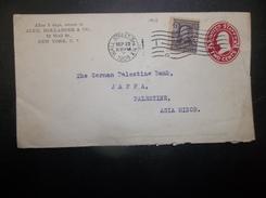 USA: 1908 Uprated Postal Envelope To Jaffa, Palestine (#NL1)