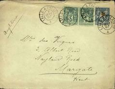 FRANCE - Entier Avec Complément D' Affr. Pour L'Angleterre - 1897 - 21623