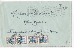 Taxe Fleurs Sur Lettre De 1975 Oblitérée 'Poste Aux Armées' (Franchise Militaire Non Acceptée) - Lettres Taxées