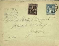 FRANCE - Entier Avec Complément D' Affr. Pour La Suisse - 1893 - 21626