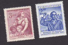 Czechoslovakia, Scott #513, 515, Mint Hinged, Woman And Children, Antifascist, Issued 1952 - Czechoslovakia