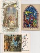 Carte Double Fantaisie - Lot De 3  -  Noël - Peinture Pour Une - Noël