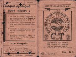 C.G.T. DOCKERS Du HAVRE Carte SYNDICAT Générale Des Ouvriers Du Port Du HAVRE ( TIMBRES F.N. PORTS Et DOCKS 1950 ) - Historische Dokumente