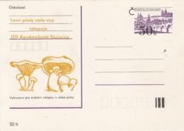 MUSHROOMS, PRAGUE CASTLE, PC STATIONERY, ENTIER POSTAL, CZECHOSLOVAKIA - Funghi