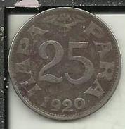 V60 - 25 PARA 1920 - Jugoslavia