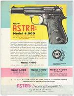 ARMES - Publicité Pistolet ASTRA Modèle 4.000 Falcon Automatic Pistol Cal. 22 L.R. - Cal. .32 - Cal. .380 - Armes Neutralisées