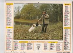 - CALENDRIER PTT Année 1983 - Pêche Et Chasse. - Big : 1981-90