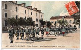 Militaria, Carte Légion Étrangère, Armée Coloniale , Départ D'un Bataillon Pour Le Maroc, 1913 - Militaria