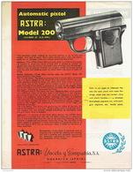 ARMES - Publicité Pistolet ASTRA Modèle 200 Automatic Pistol Calibre .25 - Armes Neutralisées