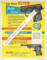 ARMES - Publicité Pistolet ASTRA Modèle 2000 Cal. .22 Short & .25 - Armes Neutralisées