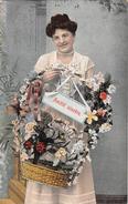 Cpa Fantaisie - Femme - Frau - Lady - Panier Fleurs - Frauen
