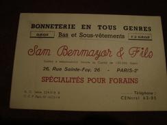 Carte De Visite SAM BENMAYER & FILS Bonneterie En Tous Genres 26, Rue Sainte-Foy PARIS - Visitekaartjes