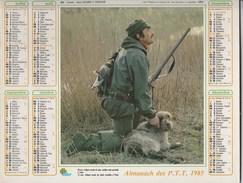 - CALENDRIER PTT Année 1985 - Pêche Et Chasse. - Calendars