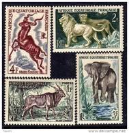 A. E. F.  N° 238 / 41 X  Faune, La Série Des 4 Valeurs Trace De Charnière Sinon TB