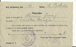 CROATIA, NDH, NEZAVISNA DRZAVA HRVATSKA  --  OPCINSKO POGLAVARSTVO MARIJA BISTRICA  -- 1942  --  DOZNAKA - Historical Documents