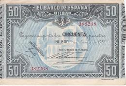 BILLETE DE ESPAÑA 50 PTAS DEL BANCO DE BILBAO 1937 BANCO DE VIZCAYA  (BANKNOTE) - [ 3] 1936-1975 : Régence De Franco