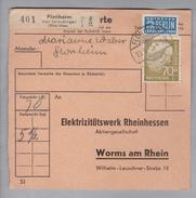 Heimat DE Rh.Pf. Flonheim 1955-08-19 Paketkarte 5,5 Kg 70 Pf. Mi#191 - [7] République Fédérale