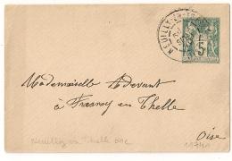 NEUILLY EN THELLE Oise Sur Entier SAGE Pour FRESNOY EN THELLE. - 1877-1920: Période Semi Moderne