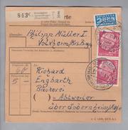 Heimat DE Rh.Pf. Volxheim 1955-11-21 Paketkarte 5,0 Kg 60 Pf. 3x20 Pf. - Lettres & Documents