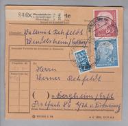 Heimat DE Rh.Pf. Wendelsheim 1955-01-18 Paketkarte 4,5 Kg DM 1.10 Nach Bergheim - Lettres & Documents