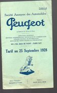 (Paris) TARIF Peugeot 1928 (PPP4198) - Transports