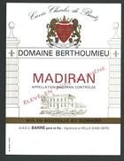 étiquette Vin   Madiran Domaine De Berthoumieu Cuvée Charles De Baatz - Madiran