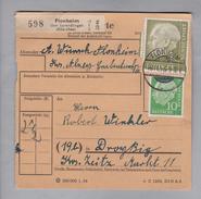 Heimat DE Rh.Pf. Flonheim 1956-11-18 Paketkarte 2,5 Kg DM 1.10 - Lettres & Documents
