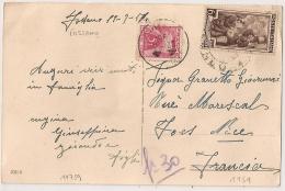 TAXE 5F NICE R.P. Alpes Maritimes Sur CP ITALIE FOSSANO. 6 LIRE. 1951. - Lettres Taxées