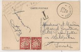 """1936. TAXE 60C MALESHERBES Loiret Sur CP BELGE NIEUPORT. Mention """"Les Timbres Apposés Au Recto Ne Sont Pas Valables..."""" - Lettres Taxées"""