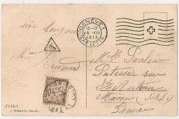 1913. TAXE 10c MACON Saone Et Loire Sur CP GENEVE Suisse. - Lettres Taxées