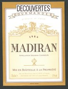 étiquette Vin   Madiran  1986 Découverte Gourmande - Madiran