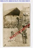 BREZANY-Breschan-OBUS Gros Calibre-ENFANTS-1917-CARTE PHOTO Allemande-Guerre 14-18-1 WK.-Militaria-TSCHECHIEN- - Tchéquie