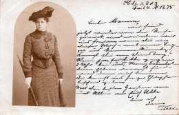 JUNGE DAME Mit Hut Und Schirm, 1903 - Frauen