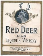 étiquette  - RED DEER  Old Scotch Whisky - CERF - Lucien Berthet Importateur Saigon - Whisky
