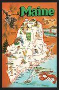 Carte Géographique Du Maine - Augusta - Pine Cone - Chickadee - Eastern White Pine - Homard - DEXTER PRESS - Etats-Unis