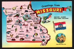Carte Géographique Du Missouri - Those World Famous Mules - Jefferson City - Bluebird - Hawthorne - HOLMES - Etats-Unis