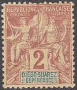 Diégo-Suarez 1892  N° 26 MH Sage (D28) - Unused Stamps